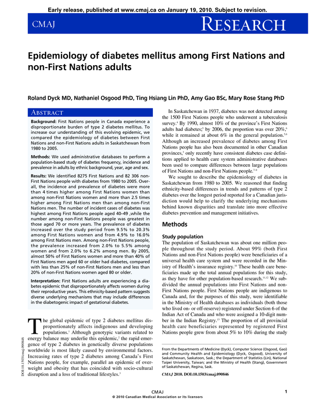 Epidemiology of diabetes mellitus among First Nations and