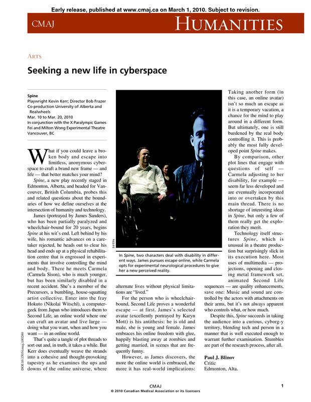 Seeking a new life in cyberspace | CMAJ
