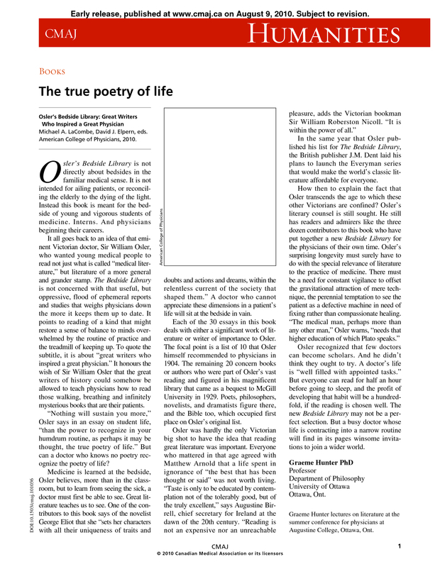 The true poetry of life | CMAJ