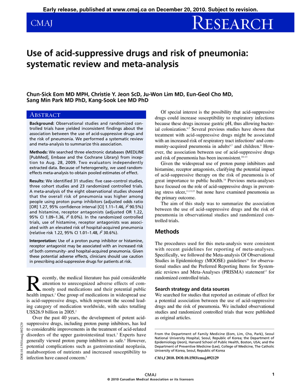 Use of acid-suppressive drugs and risk of pneumonia